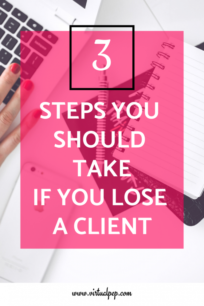 Three steps you should take if you lose a client. Blog post graphic.